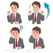 Businessman Expressing Rejoice And Confuse