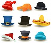 image of sombrero  - Illustration of a set of cartoon top or derby hats baseball sport winter caps sombreros and other headwear clothes equipment - JPG
