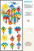 Spring birdhouses visual logic puzzle