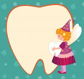 stock photo of tooth-fairy  - Vector illustration of a cute tooth fairy holding a tooth and standing beside a tooth shaped blank note - JPG