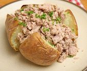 Jacket potato with tuna mayonnaise.