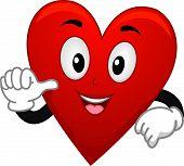 Ilustração do mascote de coração de Suite de cartão