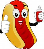 Illustration of a Mascot  Hotdog Sandwich with showing a Thumbs-Up and holding a Squeeze Bottle of C