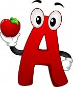 Illustration of a Letter A Mascot holding an apple