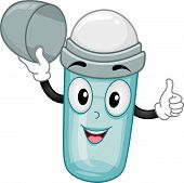 Illustration of an open Roll-on Deodorant Mascot with thumbs up