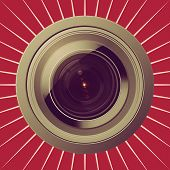 Camera Lens On Red Background