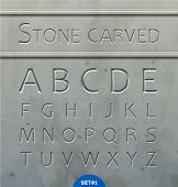 Stone carved alphabet