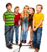 pic of singing  - Group of kids singing to microphone standing together isolate on white - JPG
