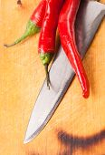 Hot Capsicum Chili Pepper And Knife On Board