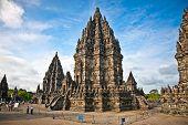 Prambanan templeb in sunset , near to Yogyakarta on Java, Indonesia.
