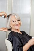 picture of hairspray  - Portrait of happy senior woman getting hair styled in salon - JPG