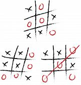 Tic-tac-toe set on a white board