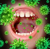 foto of virus  - Contagious disease transmiting a virus infection with an open human mouth spreading dangerous infectious germs and bacteria while coughing during a cold or flu symptoms - JPG