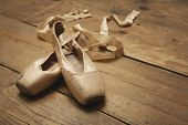 Ballet Shoes no piso de madeira