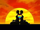 lesbische Yoga Liebe 3d render