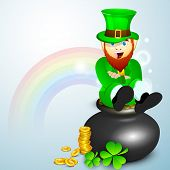 Saint Patrick's Day concept with happy leprechaun, gold coins pot ans shamrocks on rainbow background.