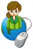 Illustration of a businesswoman with a green blazer above the globe with a computer mouse on a white background