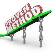 A team lifts an arrow with the words Proven Method to illustrate a time-tested process or procedure