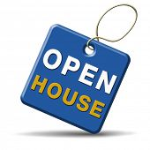 Open house sign or icon don�?�¢??t buy or rent a house before you visit the real estate or model