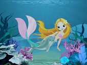 Cute mermaid swimming with dolphin. Background