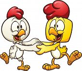 Cartoon dancing chickens. Vector clip art illustration with simple gradients. All in a single layer.