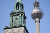 Marienkirche Church And Fernsehturm Television Communication Tower, Berlin
