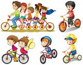 stock photo of headgear  - Illustration of a group of people biking on a white background - JPG
