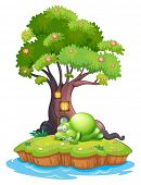 Illustration of a monster sleeping under the treehouse in the island on a white background
