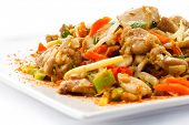 Asian food - roast meat with vegetables