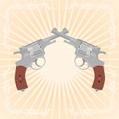 stock photo of divergent  - Two revolvers on an abstract background - JPG