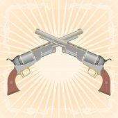 stock photo of divergent  - Two old pistol on abstract diverging rays - JPG
