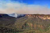 image of valley fire  - Bushfire in the Grose Valley B lue Mountains Australia has threatened towns on the escarpment - JPG