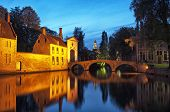 Beguinage Bridge By Night, Bruges, Belgium.