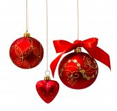 foto of glass heart  - Perfect golden christmas balls isolated on white background - JPG