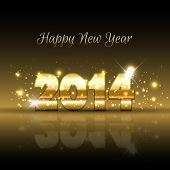 stock photo of starry  - Happy New Year background with a gold metallic design - JPG