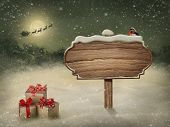 stock photo of letters to santa claus  - Wooden sign and gift boxes in snow - JPG