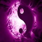 image of karma  - yin yang sign on a vivid background - JPG