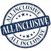 All Inclusive Grunge Blue Round Stamp