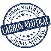 Carbon Neutral Grunge Blue Round Stamp