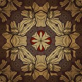 art nouveau geometric ornamental vintage pattern in beige, violet and brown colors