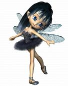 pic of faerie  - Cute toon ballerina fairy with dragonfly wings wearing a blue tutu - JPG