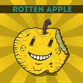 Funny, Cartoon, Malicious, Yellow Monster Apple, On The Scratchy Retro Background. Vector Illustrati