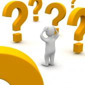 stock photo of question-mark  - Confused man and question marks - JPG