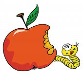 cartoon illustration of worm and apple