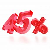 Sales concept: 45% off sign on white