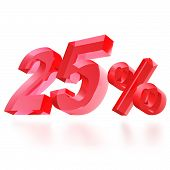 Sales concept: 25% off sign on white