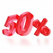 Sales concept: 50% off sign on white