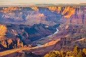 stock photo of cliffs  - Beautiful Landscape of Grand Canyon from Desert View Point with the Colorado River visible - JPG