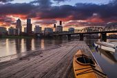 Sunset Landscape Of Portland, Oregon, Usa.
