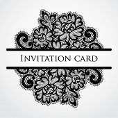 Vector lace card. Vintage black ornament.